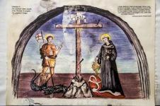 Celestino V che calpesta l'abito papale e San Michele.